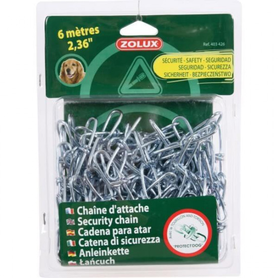 Chaine d'attache acier 6m de Zolux dans Laisses, colliers et harnais