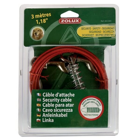 Cable d'attache & ressort 3m de Zolux dans Laisses, colliers et harnais