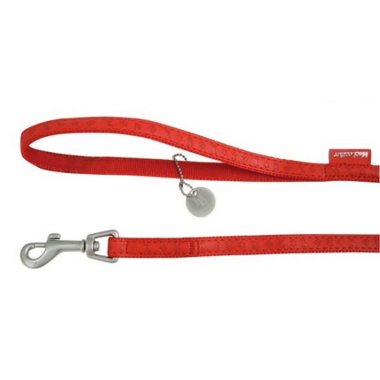 Laisse mc leather 1.2m 10mm rouge