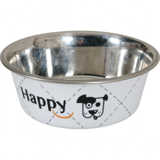 Ecuelle inox happy blc 14cm de Zolux - Produit pour animaux dans Gamelles et distributeurs pour chiens