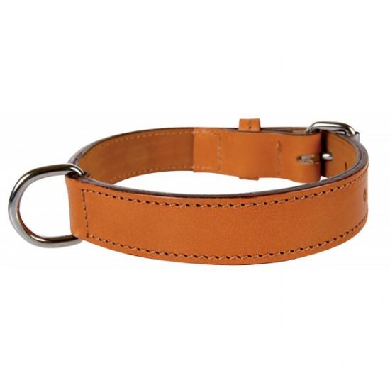 Collier cuir double 35 cm nat