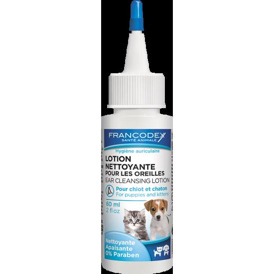Lotion oreilles chiot/chaton 60ml de Francodex - anti puce et soin pour chien et chat dans Soins et Hygiene pour chiens