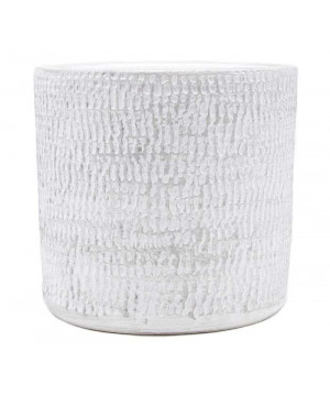 Cp d17 h16 ceramique argent/blanc de Pot et Deco - poterie céramique de qualité dans Cache-pot et pot déco