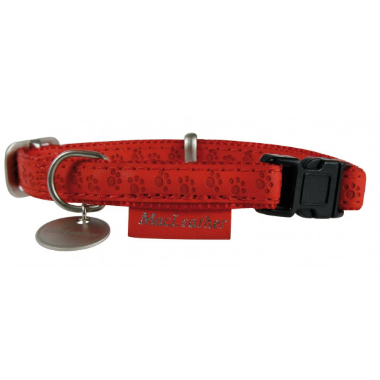 Collier reg mcleather 10mm rouge